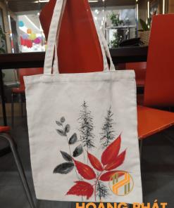 Túi vải bố lá đỏ mẫu 1