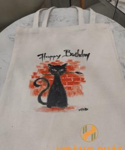 Túi vải bố vẽ tay mèo đen