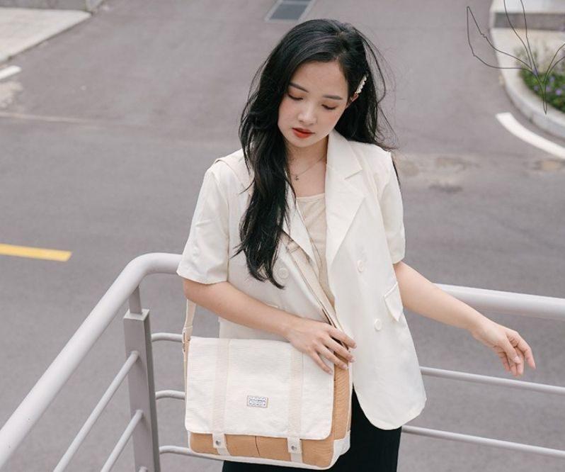 Túi vải bố may dạng cặp táp năng động cho các bạn nữ